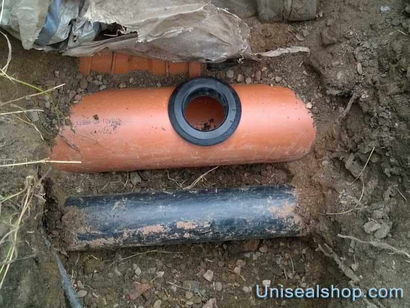 Uniseal inserted into hole